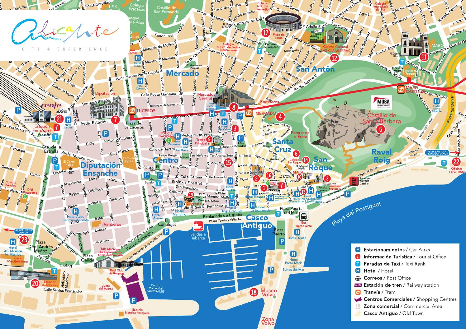 Plano Alicante Centro- Alicante center map by Alicante Turismo - issuu