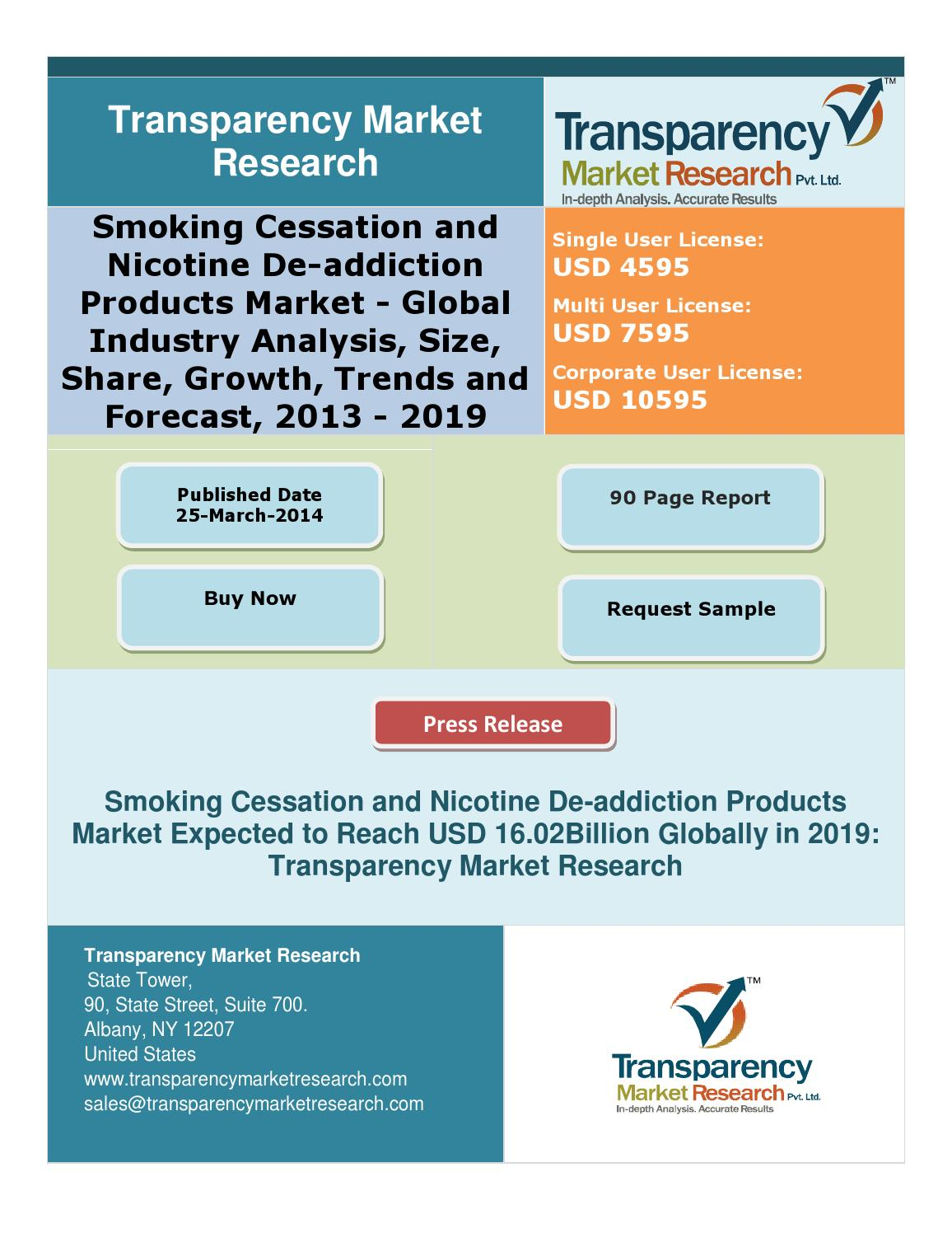 smoking cessation and nicotine de addiction products Smoking cessation and nicotine de-addiction market worth $218 billion by 2024 dominated the smoking cessation and de-nicotine addiction product market in the registration of nicotine de-addiction products and e-cigarettes as well as the strengthening of the company distribution.