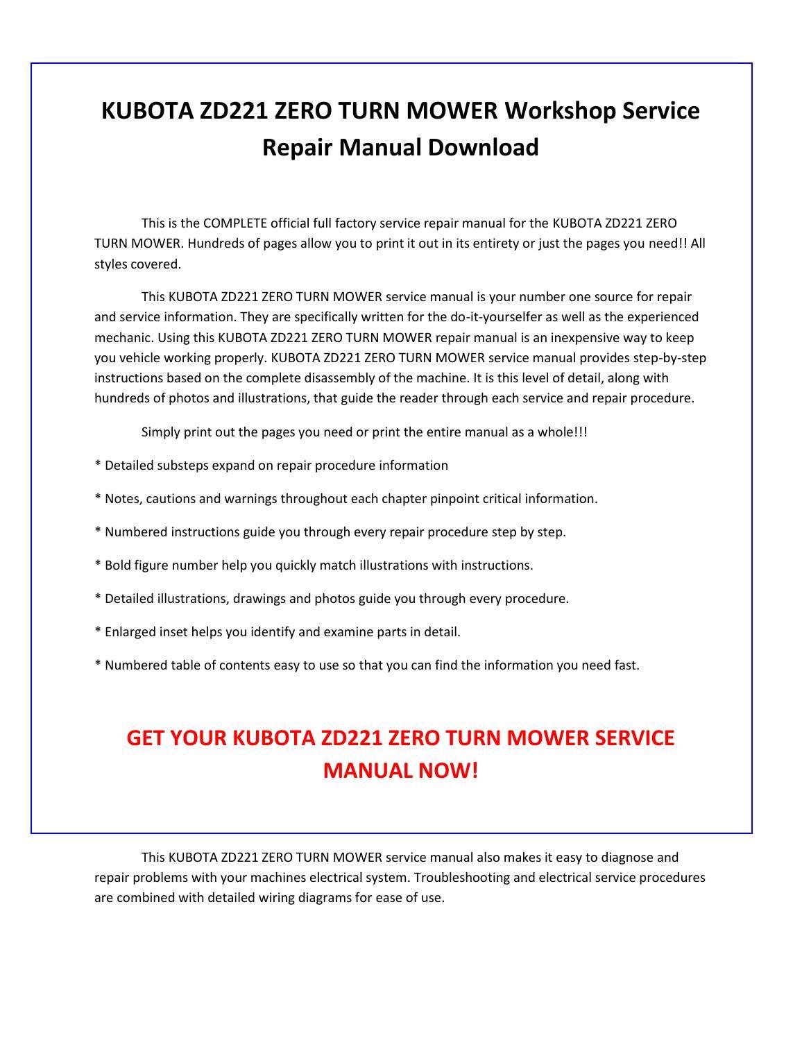 Kubota Zd221 Zero Turn Mower Service Repair Manual Pdf Manual Guide