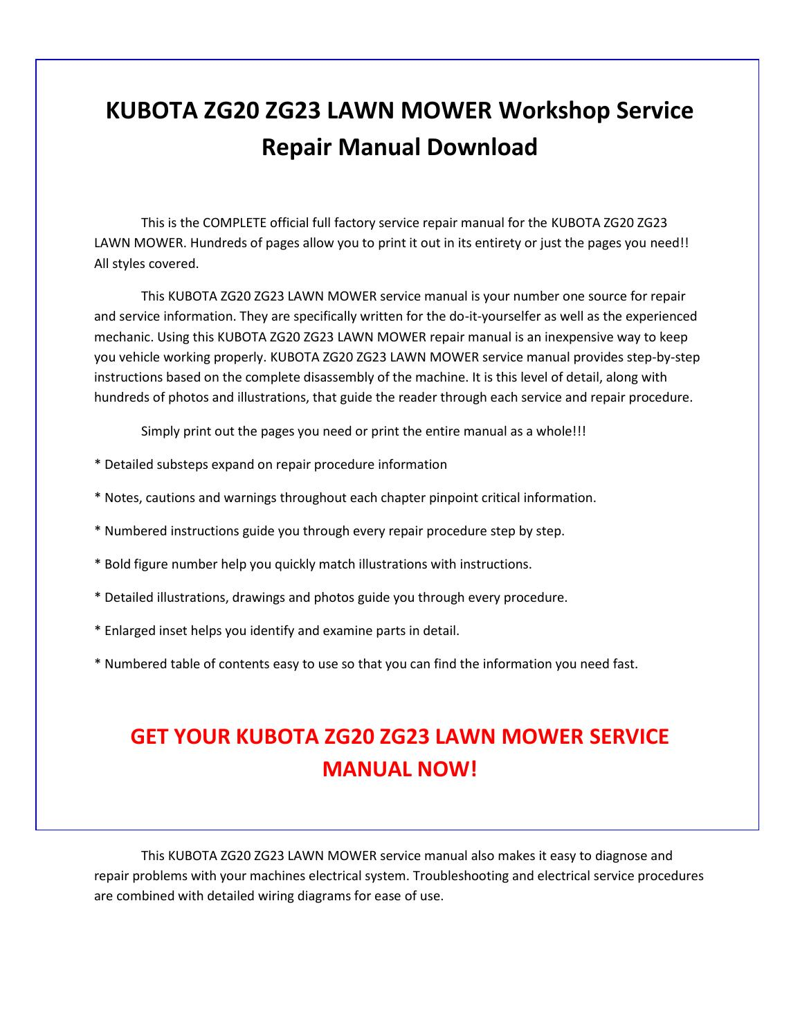 Kubota Zg23 Service Manual Free Wiring Harness Diagram Also Images Like Replacement Electrical Scheme Fuse Box Vacuum Timing Belt