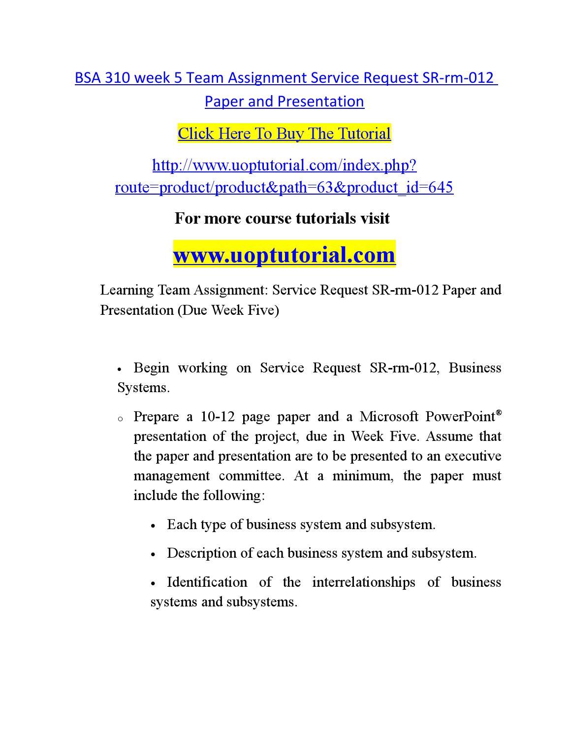 service request sr rm 012 essay