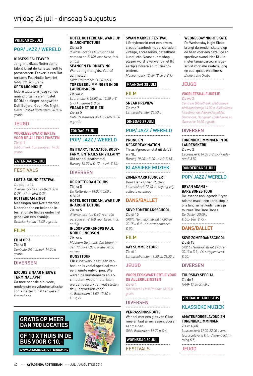 Uitagenda rotterdam juli augustus 2014 by rotterdam for Uit agenda rotterdam