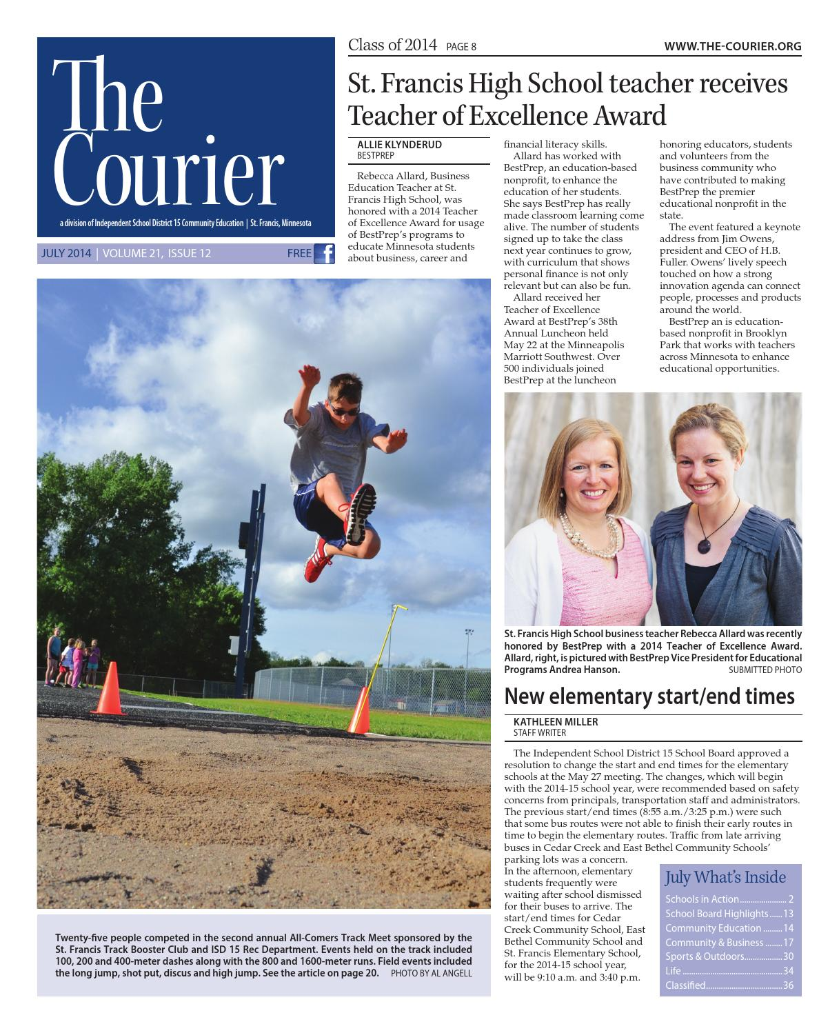 Amanda Klebs The Courier - July 2014 by Independent School District 15, St. Francis - issuu