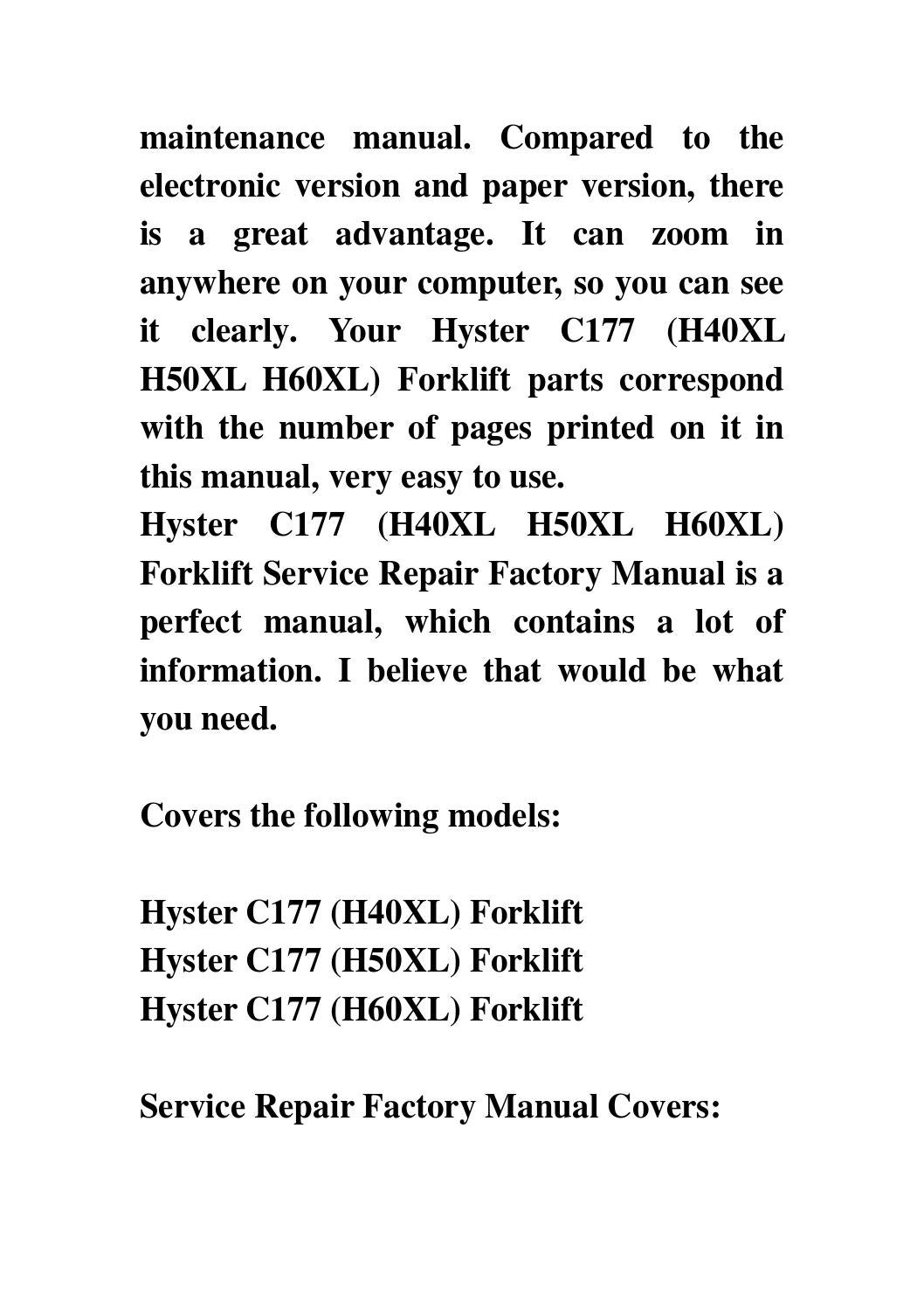 Hyster h50xl forklift service manual doc msword document download very narrow aisle v30xmu hst03 instant offer entitled factory models covers a177 h40xl forklift h50xl h60xl workshop manual capacities and spec fandeluxe Image collections