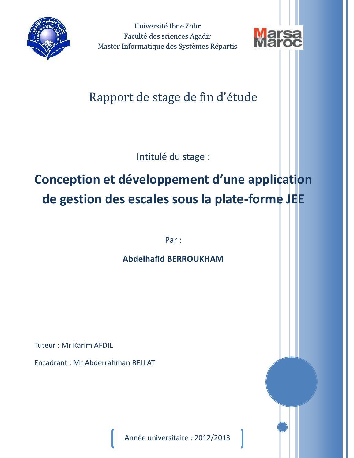Rapport de stage | Conception et développement d'une ...