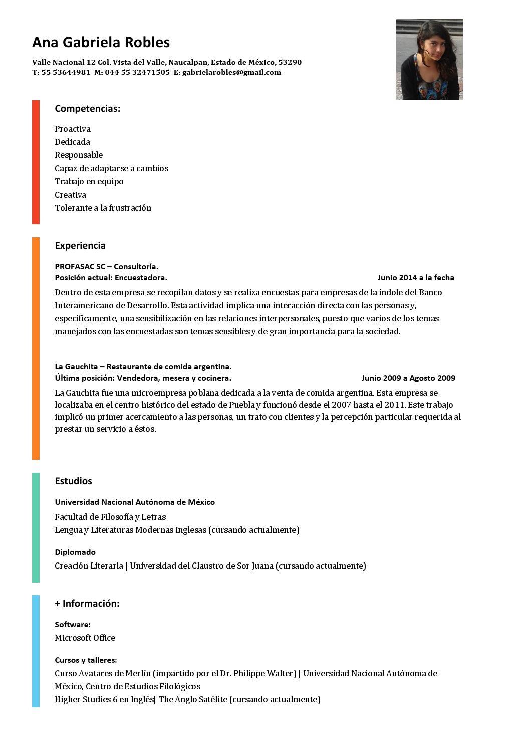curriculum vitae by ana gabriela robles