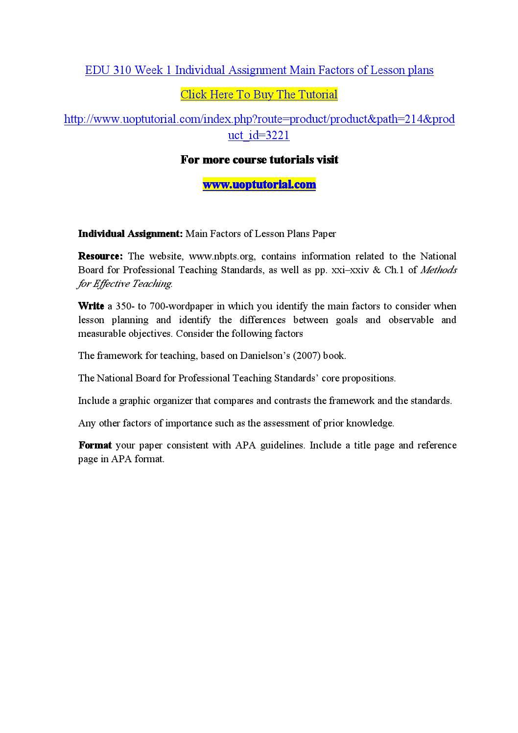 EDU 310 Week 1 Main Factors of Lesson Plans Paper