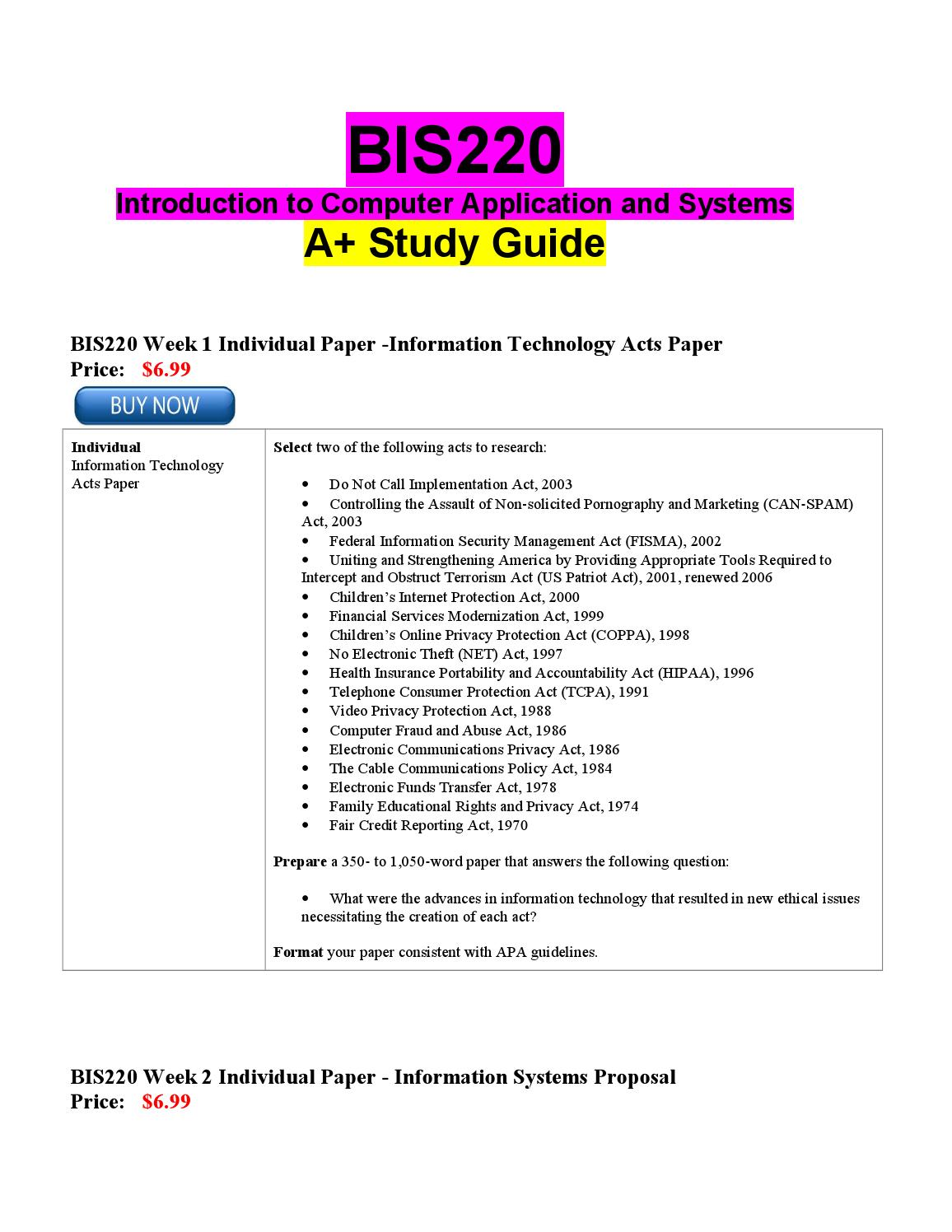 bis220 week 1 individual information technology Prepare a 700- to 1,050-word essay defining the changing role of hospitality information technology, based on the week one  bis220 week 5 individual social  1.