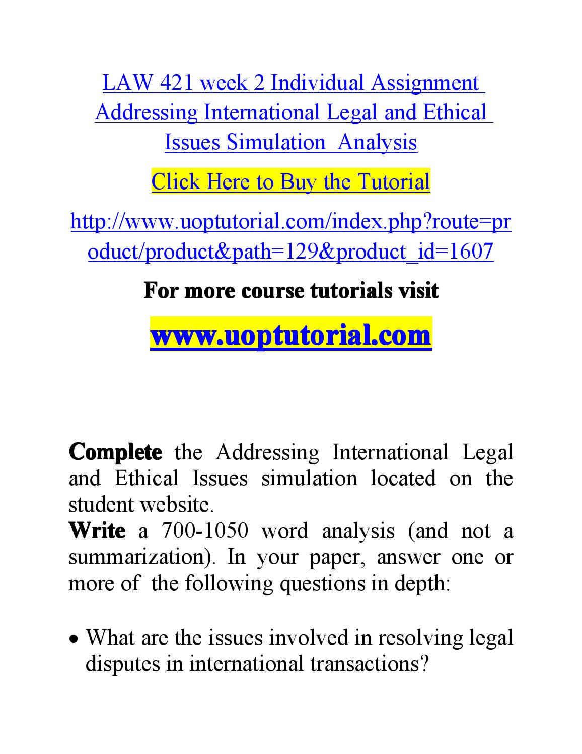 law 421 week 3 individual assignment Law 421 week 5 individual assignment article review law 421 week 5 individual assignment article review resource: article review format guide located on the student.