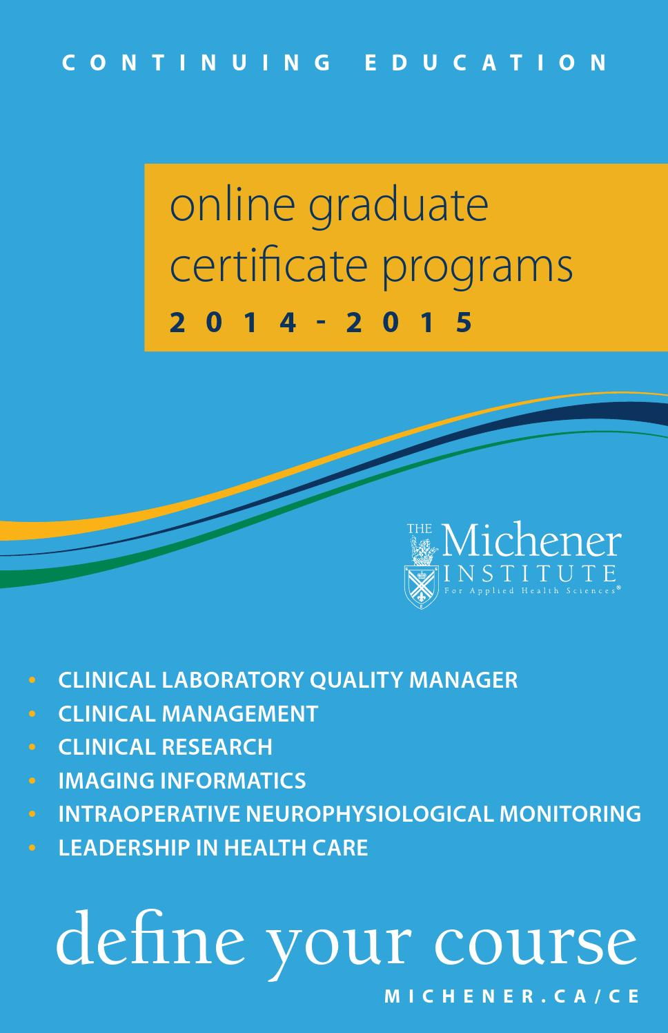 Online Graduate Certificate Programs 2014 2015 By The