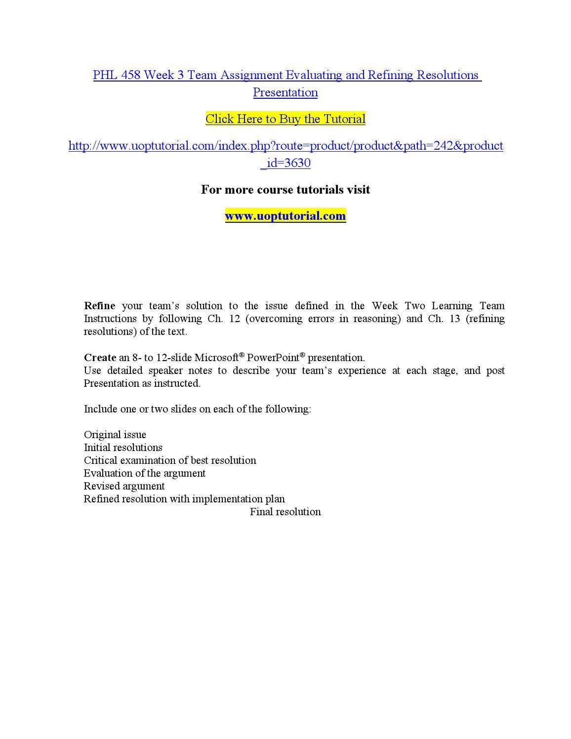 Phl 458 week 3 refining solution paper