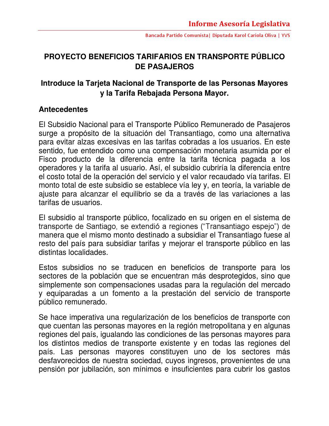 ley tarjeta transporte: