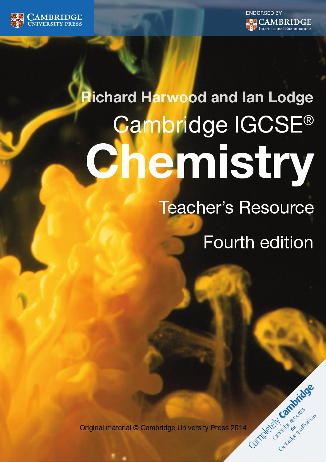 cambridge igcse chemistry teacher u0026 39 s resource  fourth edition  by cambridge university press