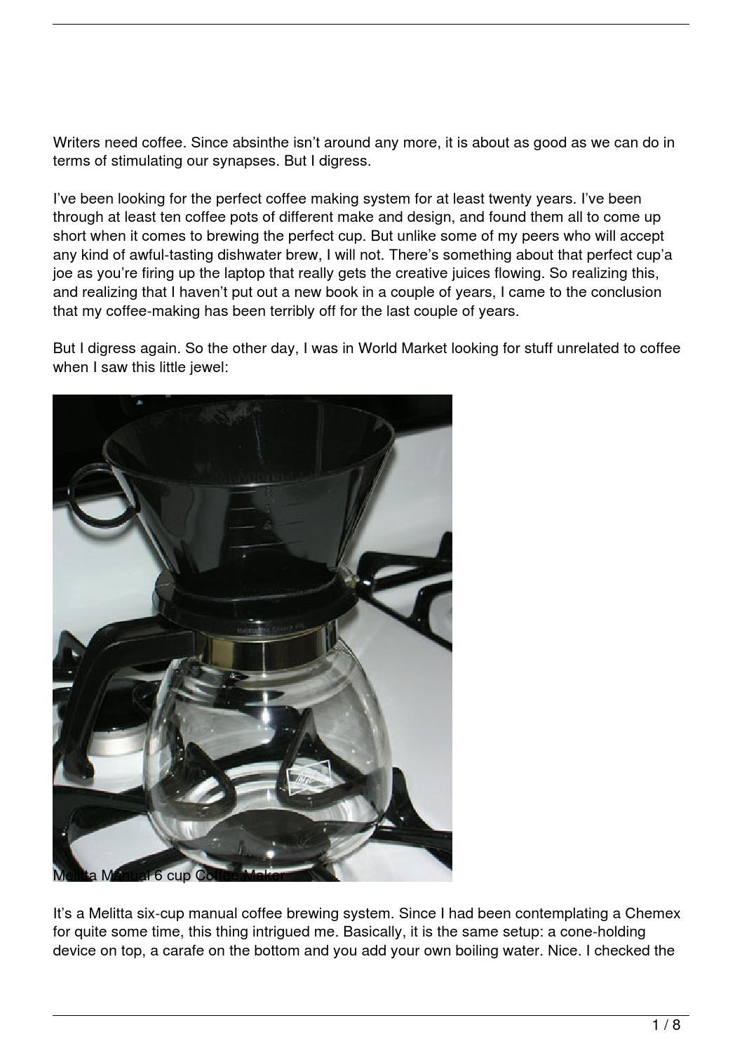 Manual Coffee Maker N1 : The Melitta Manual 6-cup Coffee Maker by Le Trung Nghia - issuu