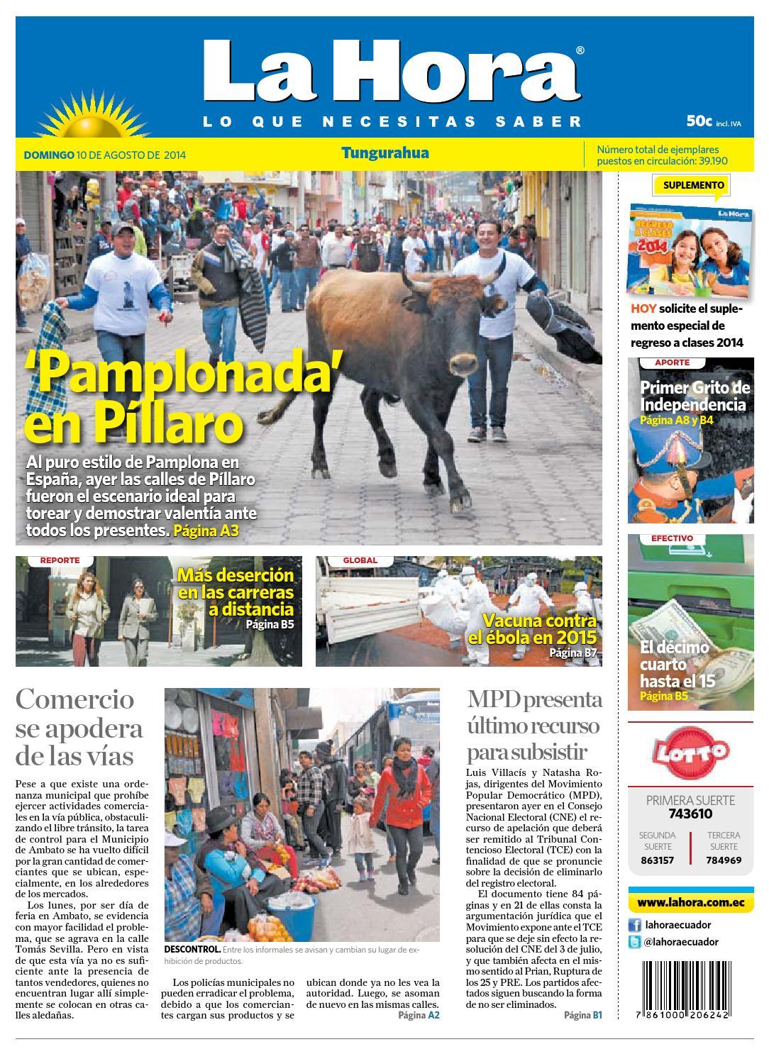 TungurahuaDiarioLaHora10ago2014 by Diario La Hora Ecuador - issuu