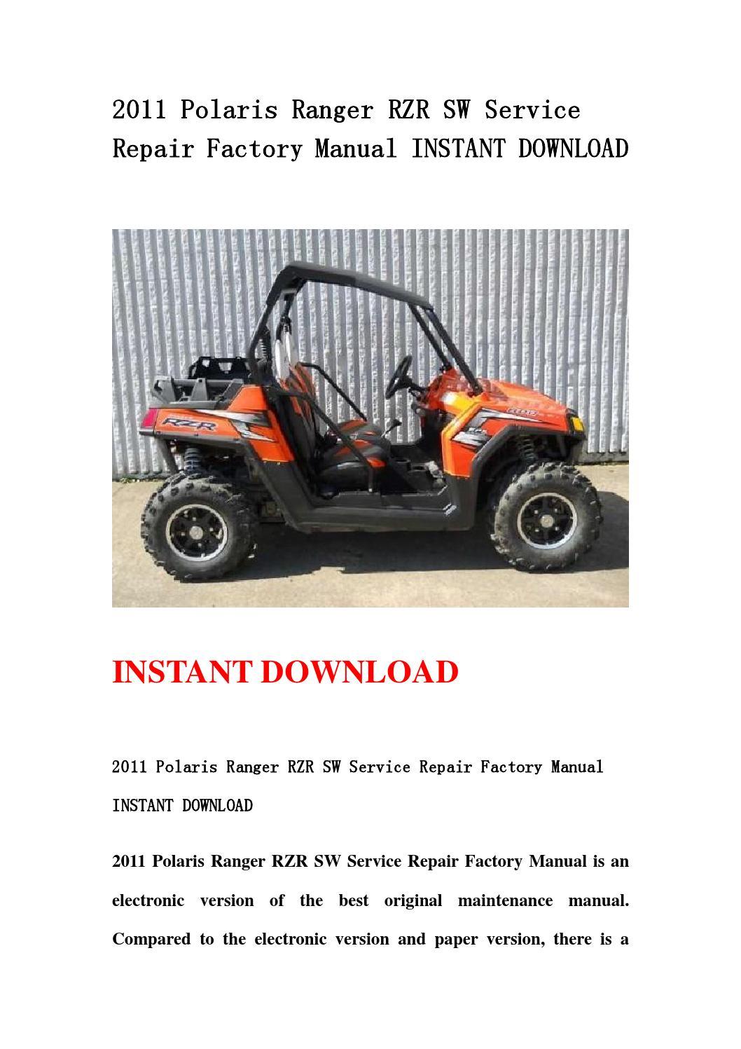2011 Polaris Ranger Rzr Sw Service Repair Factory Manual