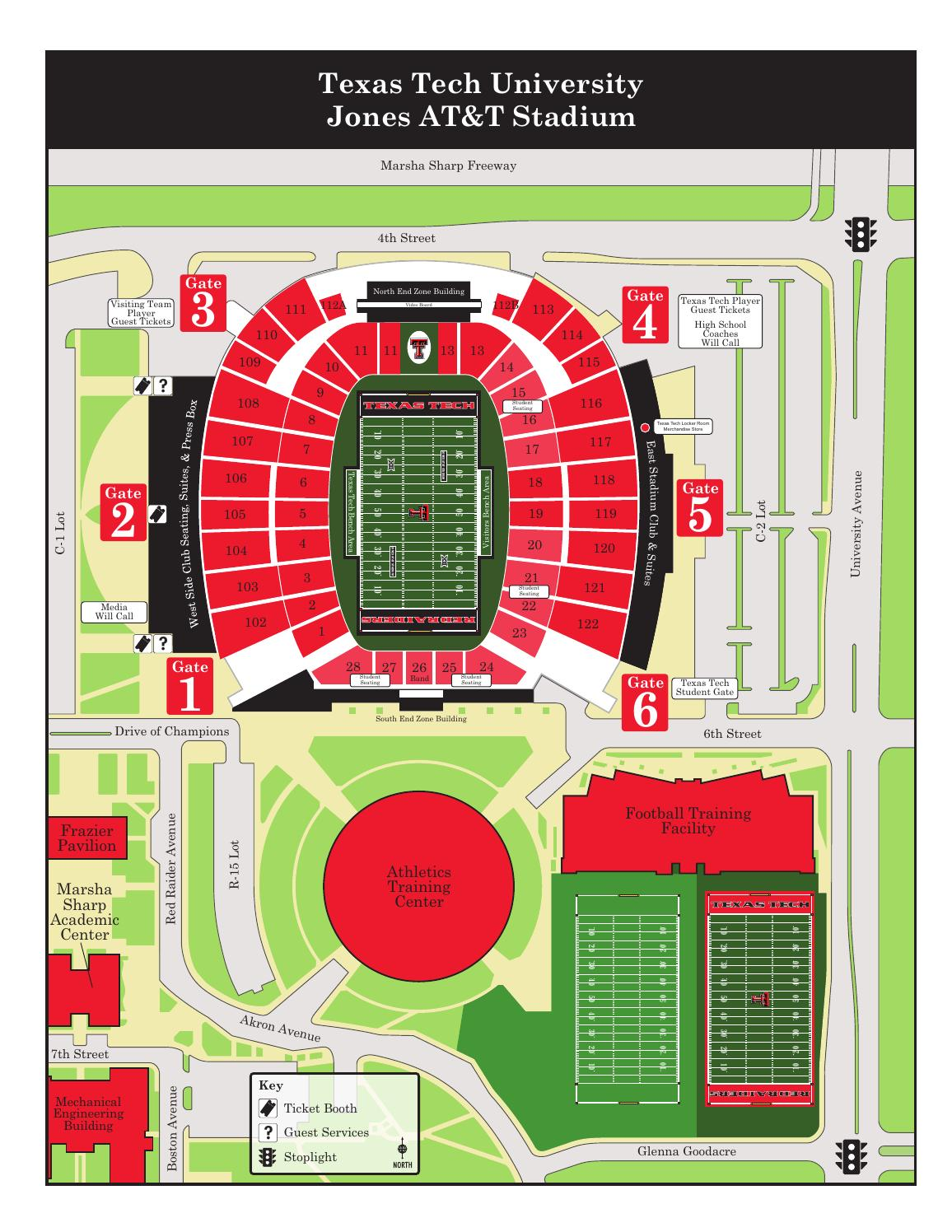 2014 stadium surrounding area map by texas tech for Dining options at at t stadium