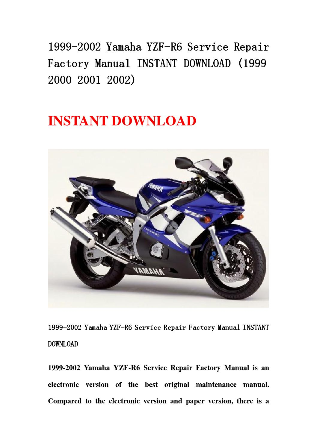 1999 2002 yamaha yzf r6 service repair factory manual. Black Bedroom Furniture Sets. Home Design Ideas