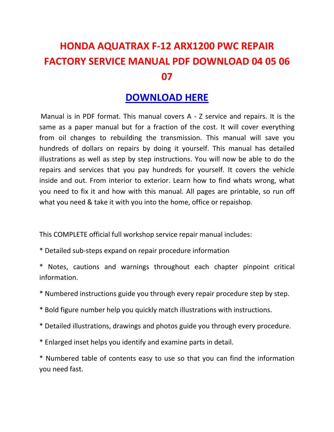 honda aquatrax f 12 arx1200 pwc repair factory service 2004 Honda Aquatrax Parts 2004 Honda Aquatrax F 12