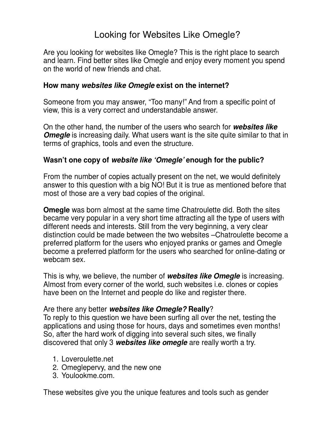 Websites like omegle but better