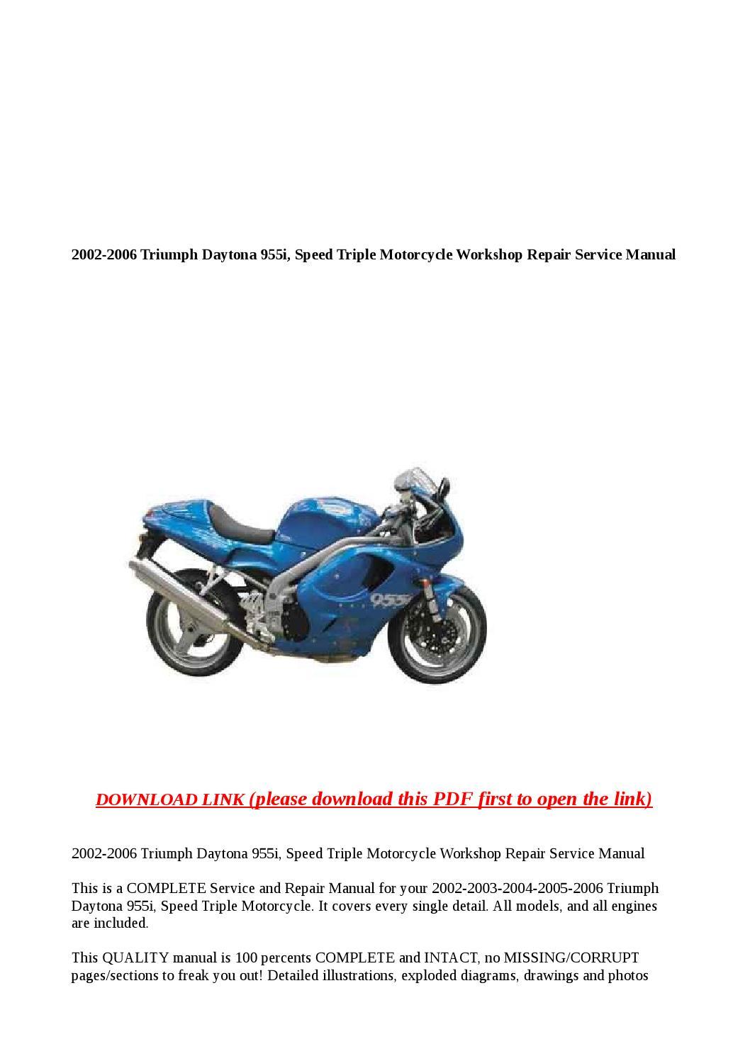 2002 2006 triumph daytona 955i speed triple motorcycle. Black Bedroom Furniture Sets. Home Design Ideas