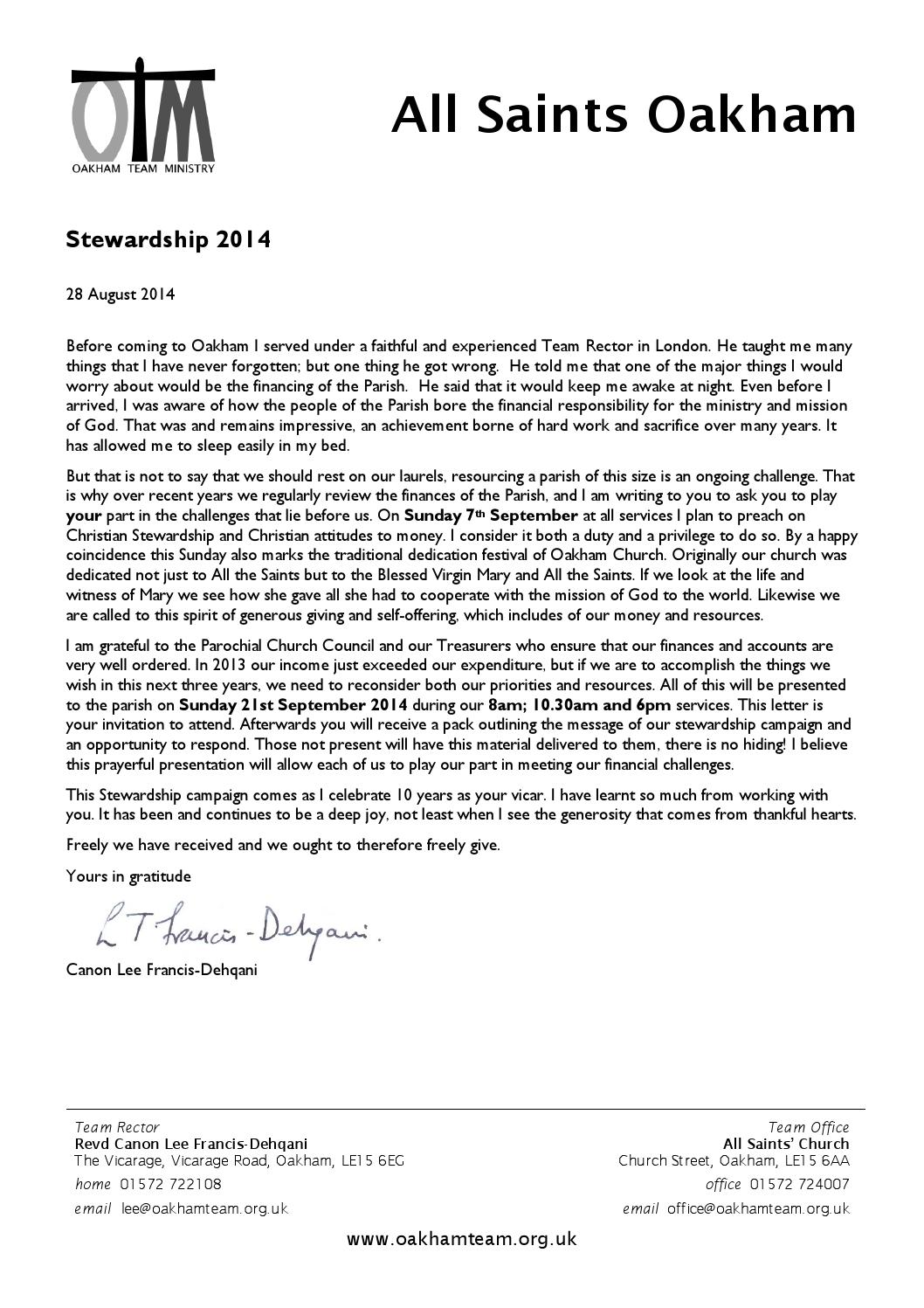 2014 stewardship letter by Oakham Team Ministry - issuu