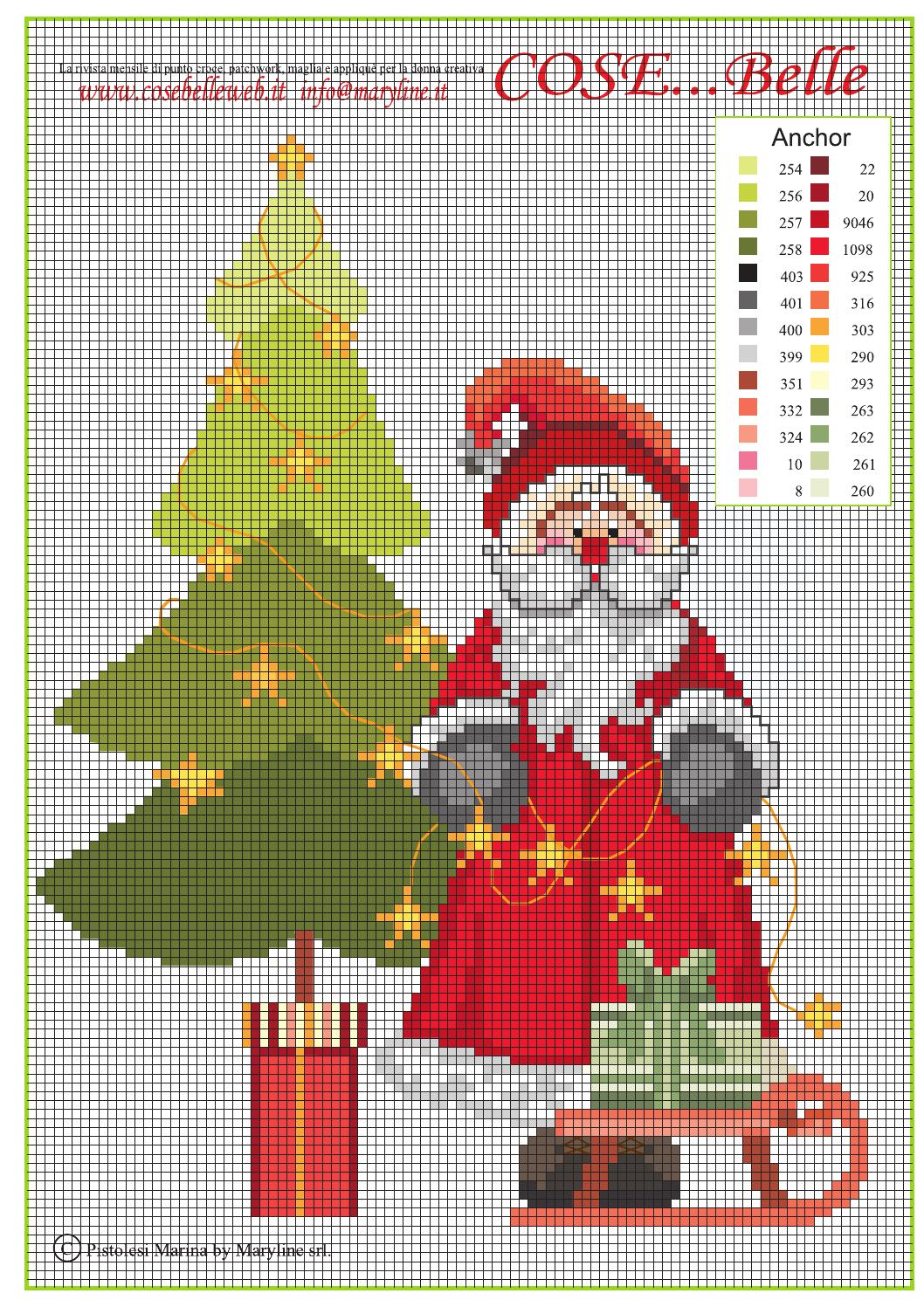 Santa 2014 free cross stitch pattern by maryline s r l for Ape punto croce schema
