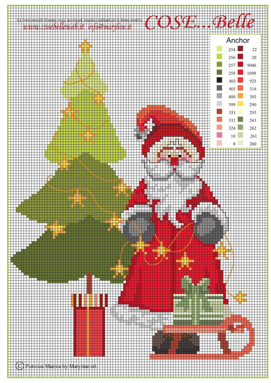 Santa 2014 free cross stitch pattern by maryline s r l for Farfalle punto croce schemi gratis