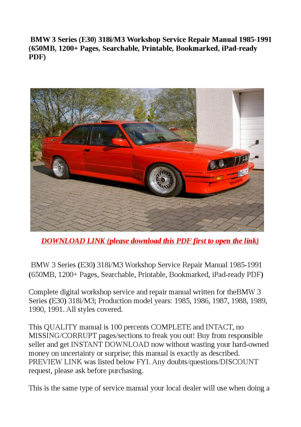 bmw 3 series e30 318i m3 workshop service repair manual. Black Bedroom Furniture Sets. Home Design Ideas
