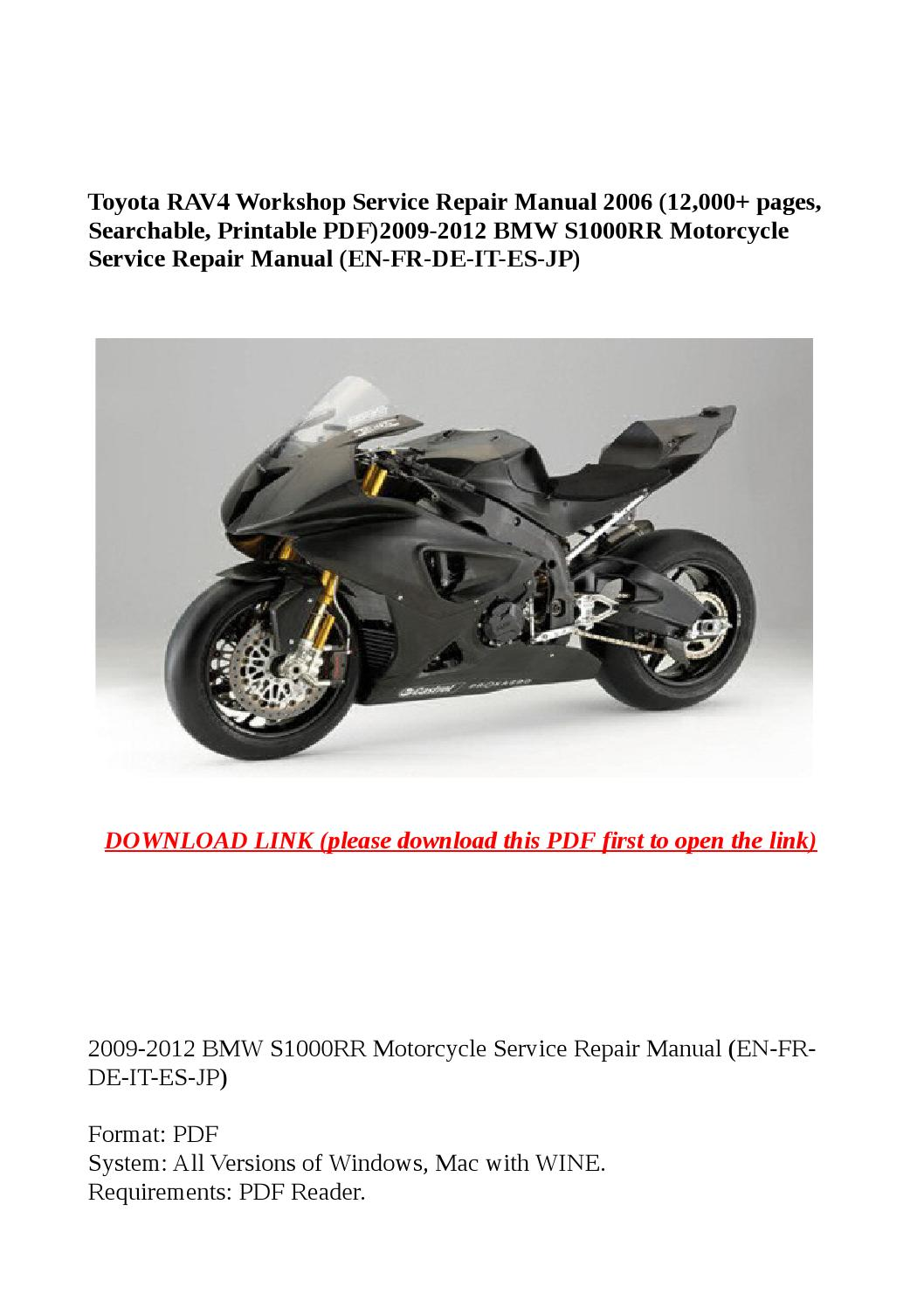 2009 2012 bmw s1000rr motorcycle service repair manual (en .