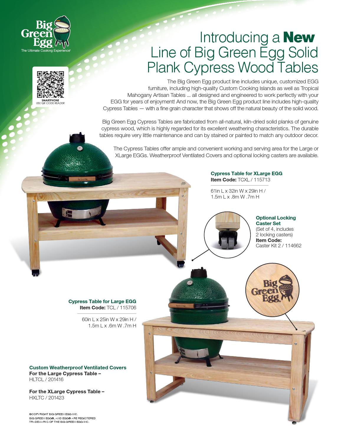 Solid Plank Cypress Wood Table Sell Sheet By Big Green Egg