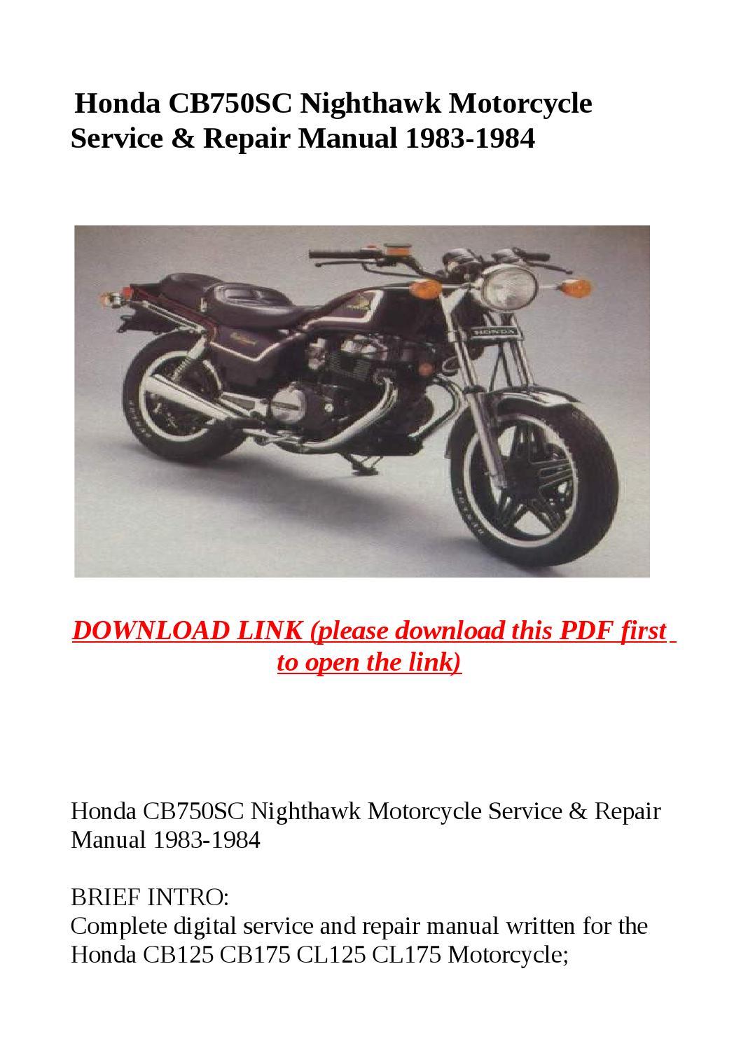 honda cb750sc nighthawk motorcycle service repair manual. Black Bedroom Furniture Sets. Home Design Ideas