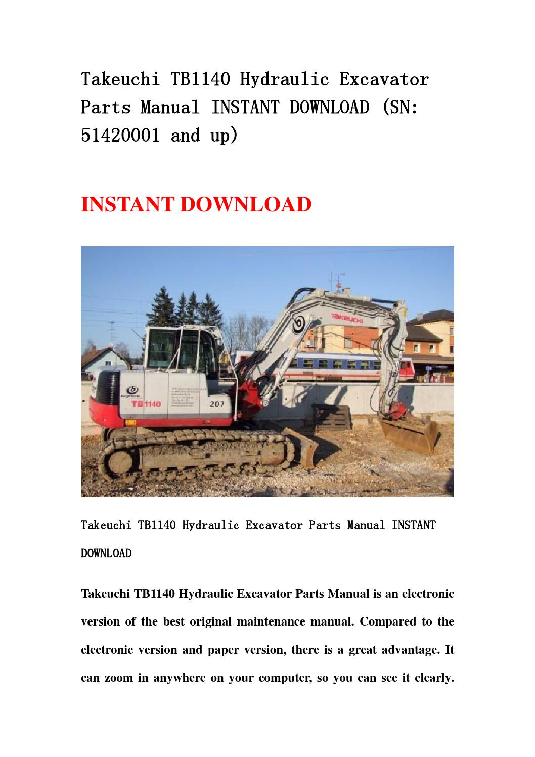 takeuchi tb1140 hydraulic excavator parts manual instant. Black Bedroom Furniture Sets. Home Design Ideas
