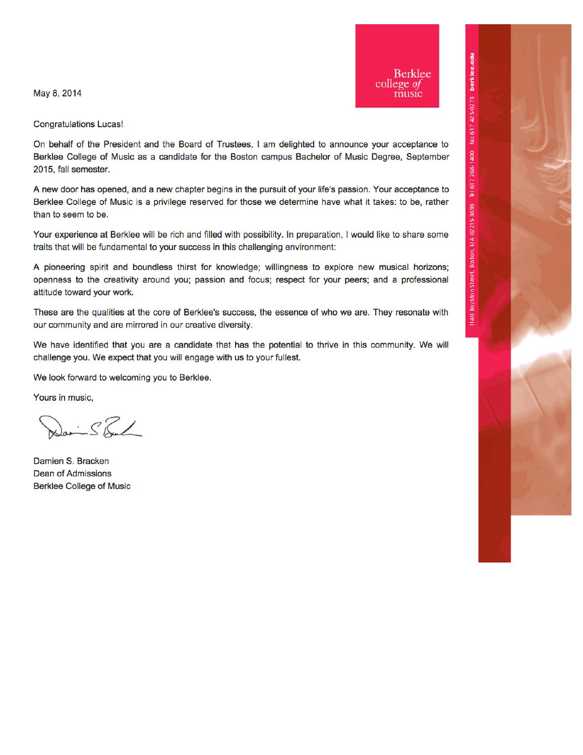 Berklee Acceptance Letter Fall 2015 By Lucas Tadini