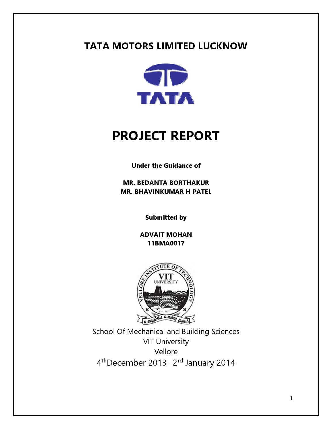 Tata motors project by advait mohan issuu for Internship for mechanical engineering students in tata motors