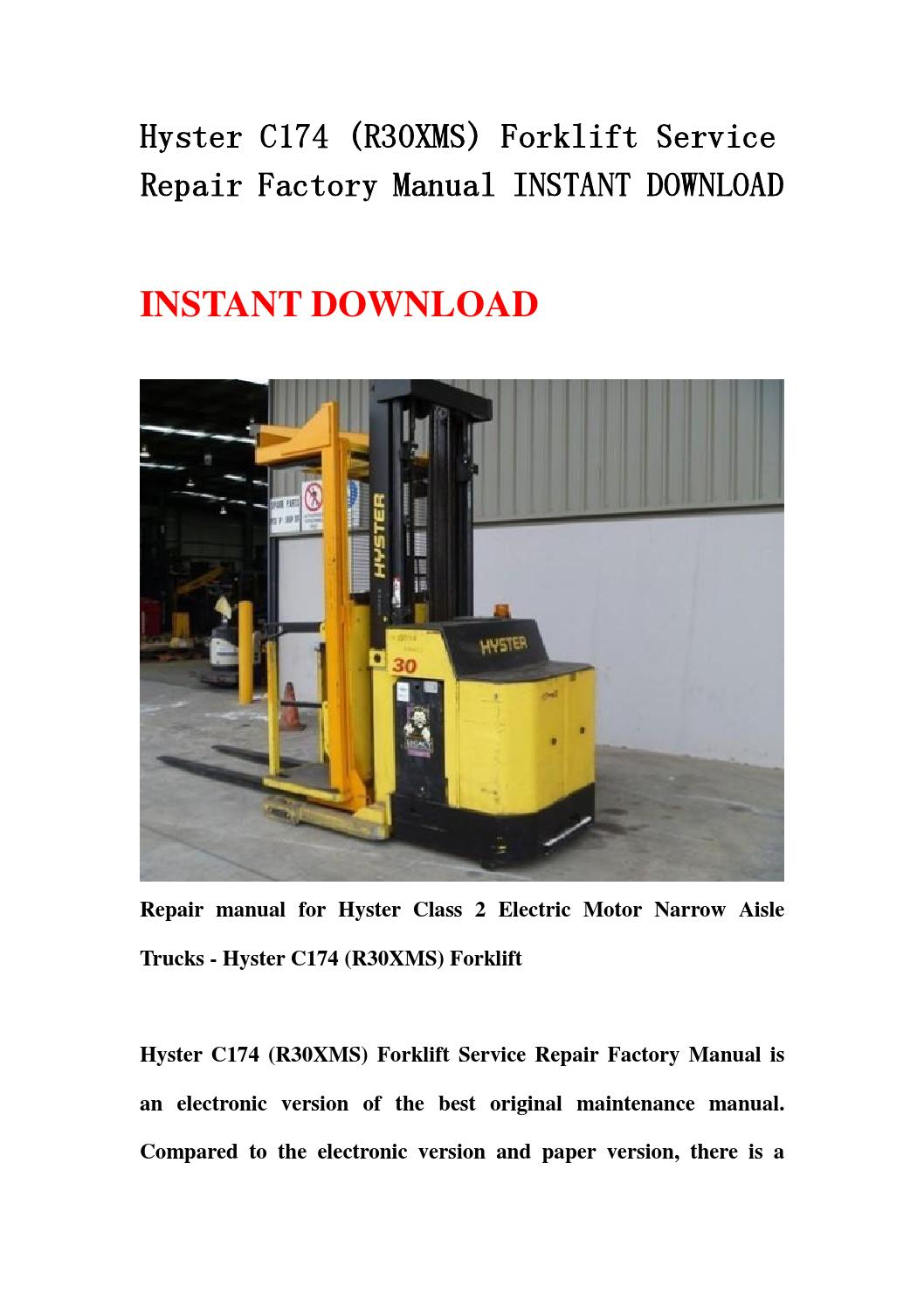 Hyster C174  R30xms  Forklift Service Repair Factory