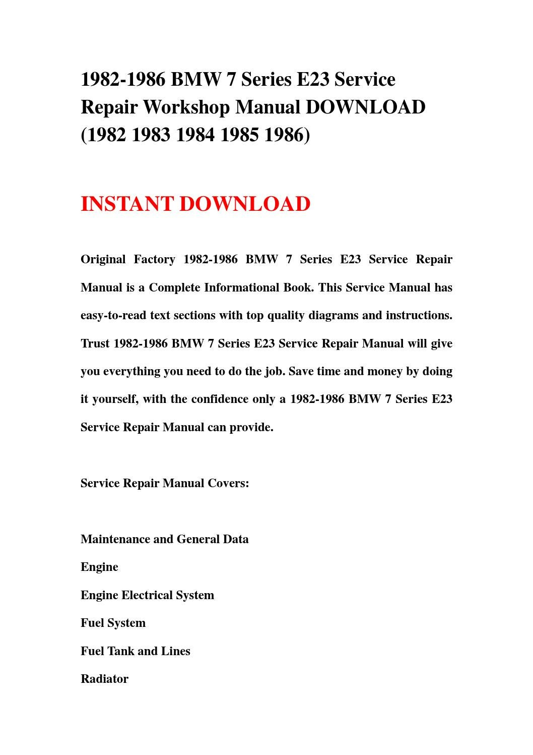 April 2017 1982 1986 bmw 7 series e23 service repair workshop manual download fandeluxe Image collections