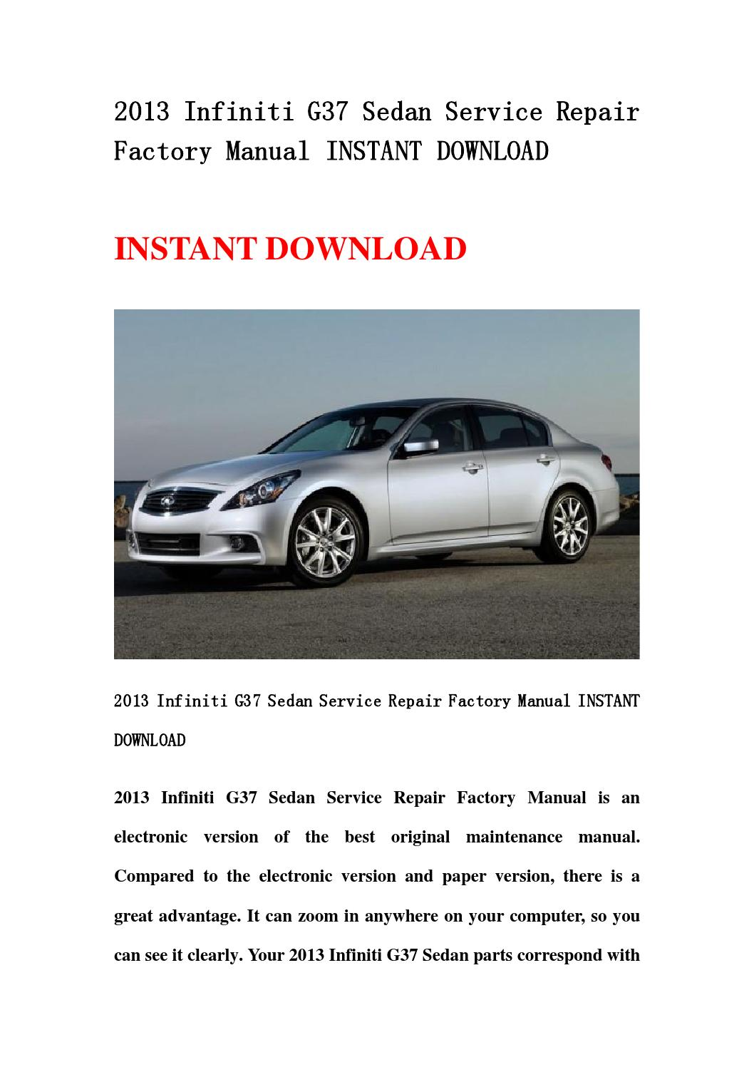 2013 infiniti g37 service manual