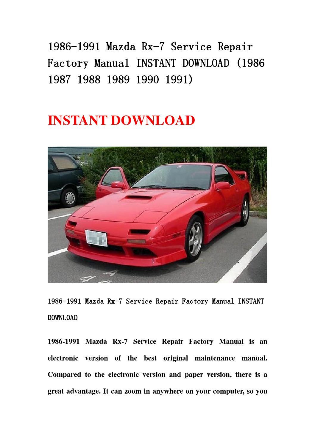 1986 1991 mazda rx 7 service repair factory manual instant