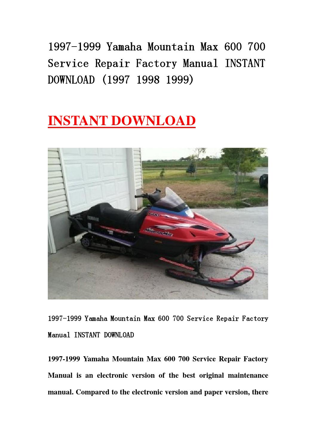 1997 1999 yamaha mountain max 600 700 service repair. Black Bedroom Furniture Sets. Home Design Ideas