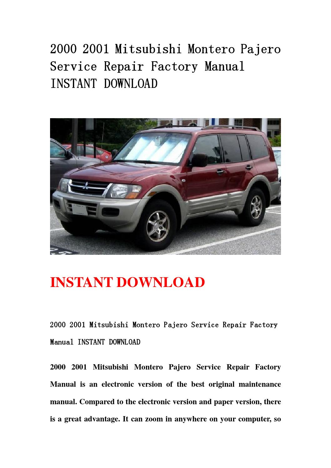 2000 mitsubishi montero sport and maintenance manual free. Black Bedroom Furniture Sets. Home Design Ideas