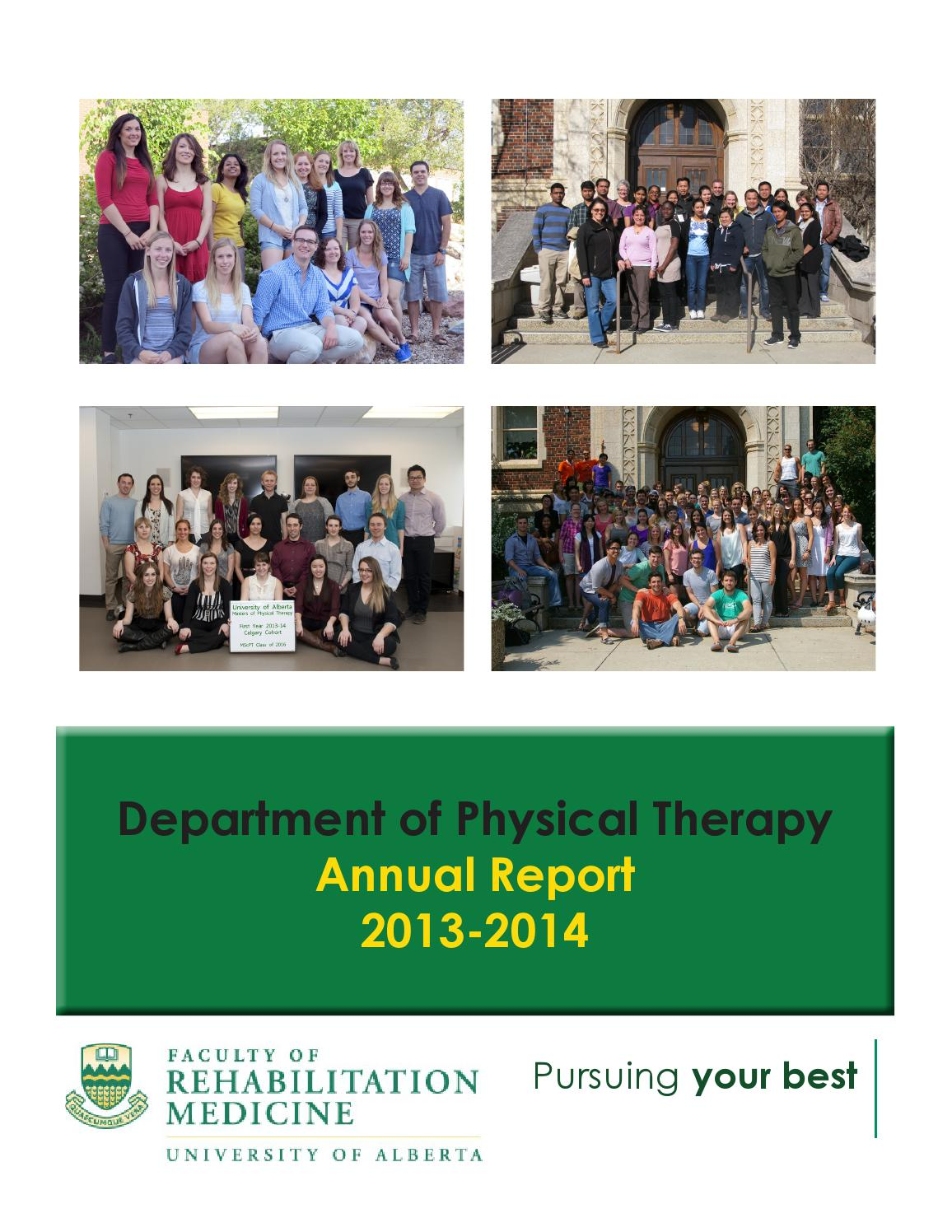 Department Of Physical Therapy Annual Report 20013 14 By