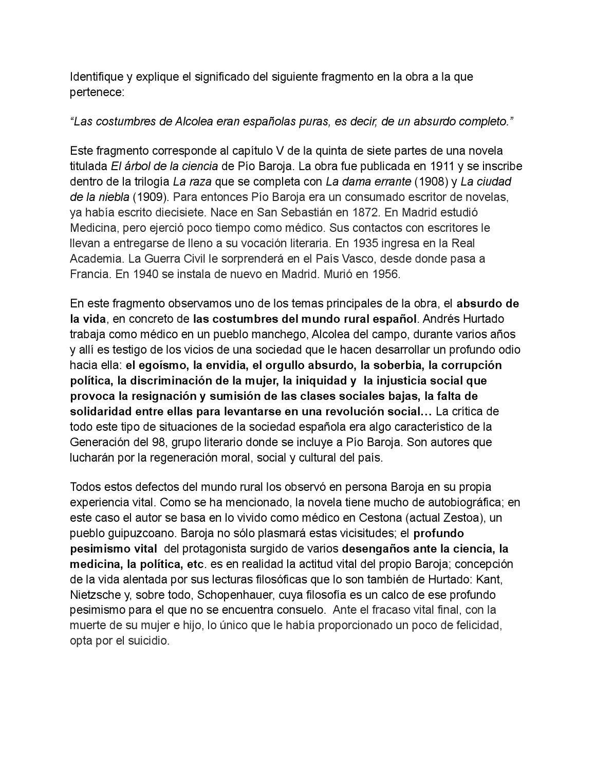 Comentarios A Fragmentos De El Rbol De La Ciencia By Rosa
