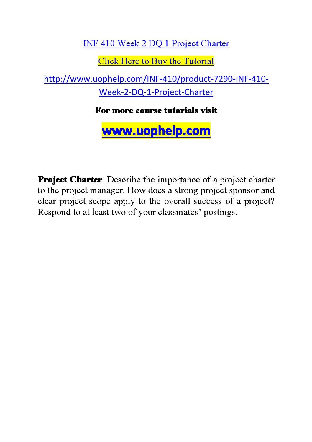 inf 410 project management Tutorialrank is a online tutorial store we provides ashford inf 410 week 1 dq 2 the importance of project management.