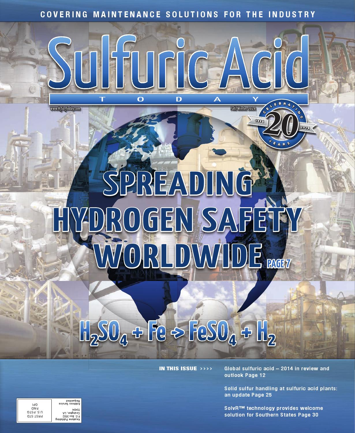 an overview of the sulfuric acid industry in ontario Sulfuric acid is used in almost all industrial sectors typical areas of application are in the production of fertilizers and pigments as well as metal ore leaching in addition, sulfuric acid is used extensively in the chemical industry, whether in fiber production, hydrofluoric acid production, chlorine drying or one of many other applications.