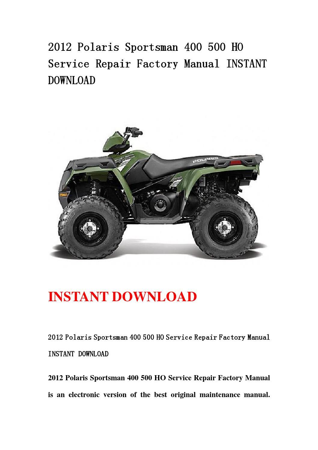 2012 polaris sportsman 500 ho service manual