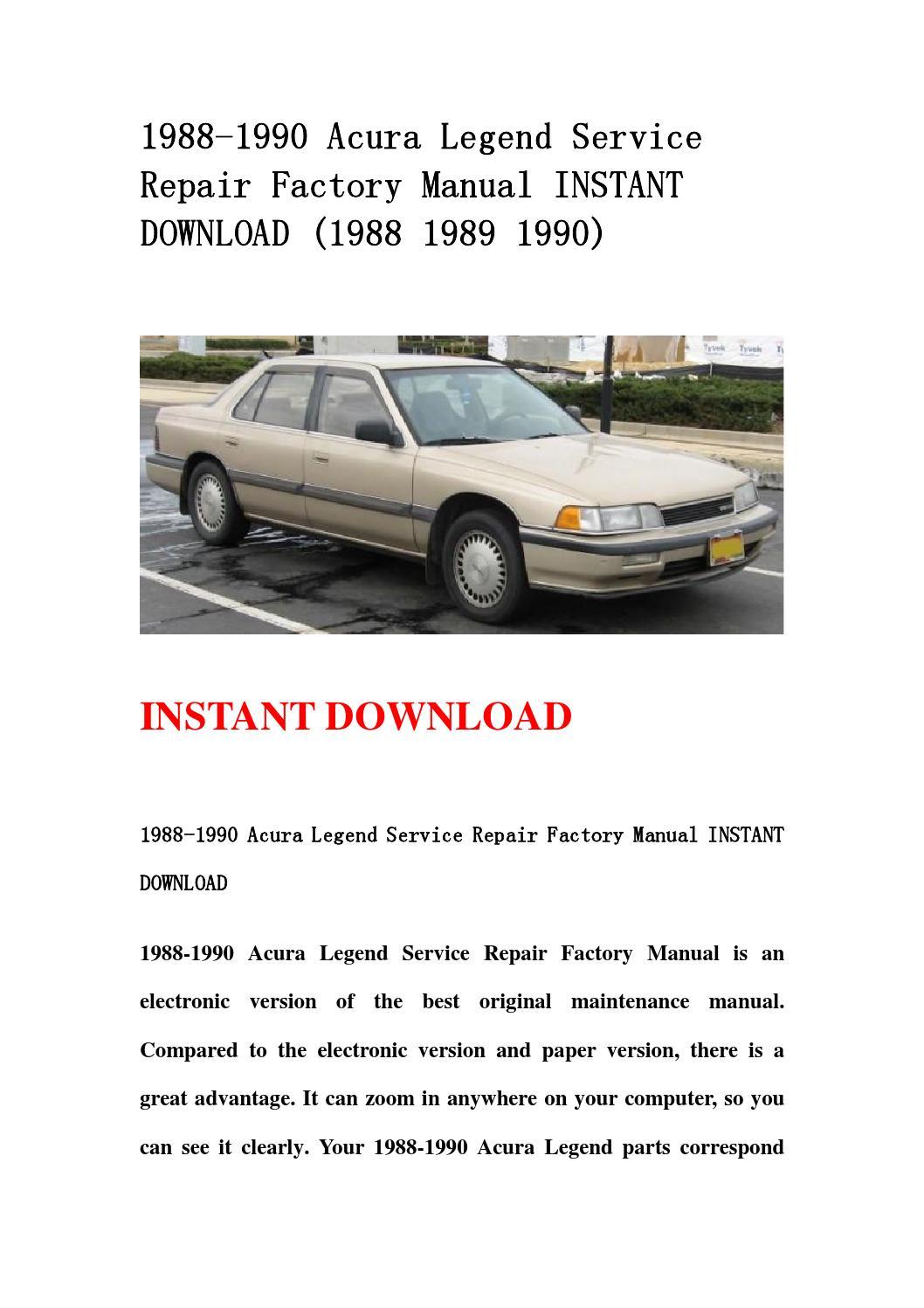 1988 1990 acura legend service repair factory manual 2001 Acura Legend 1996 Acura Legend