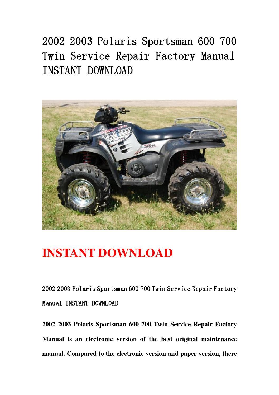 2002 2003 Polaris Sportsman 600 700 Twin Service Repair