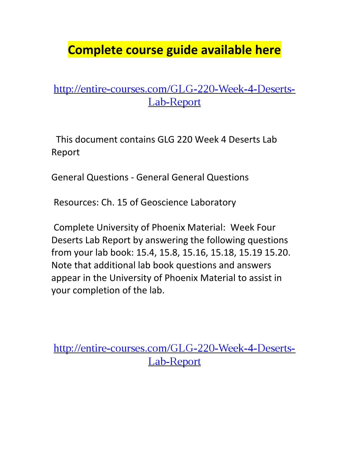 glg lab report Study flashcards on glg 220 week 2 lab report worksheet at cramcom quickly memorize the terms, phrases and much more cramcom makes it easy to get the grade you want.