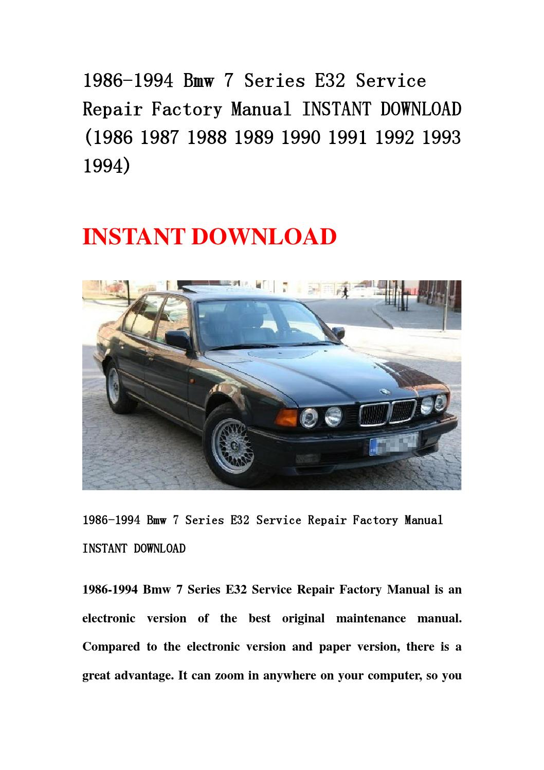 1986 1994 bmw 7 series e32 service repair factory manual. Black Bedroom Furniture Sets. Home Design Ideas